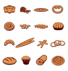 Bakery and pastry icons vector image