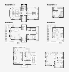 Black and white architectural plans vector