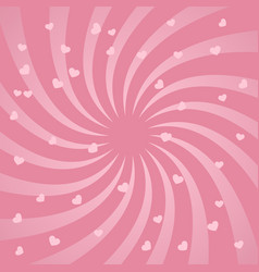 bright spiral design background with hearts vector image