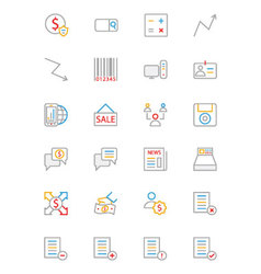 Business and finance colored outline icons 9 vector