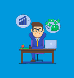 businessman relaxing at the officerelaxed vector image vector image