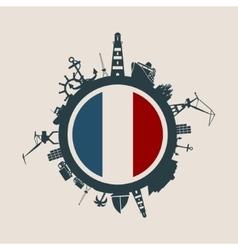 Cargo port relative silhouettes france flag vector