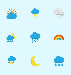 Climate flat icons set collection of storm snow vector