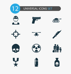 Combat icons set collection of weapons cranium vector