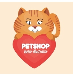 Cute cat and heart pet shop concept icon design vector