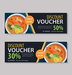 Discount voucher template with thai food vector