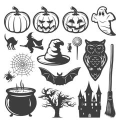 Halloween Monochrome Elements Set vector image vector image