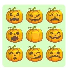 Halloween scary pumpkins set vector