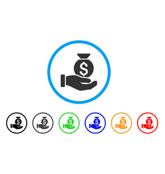 investment hand rounded icon vector image vector image