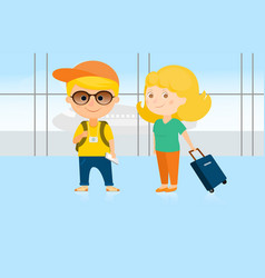 man and woman at the airport vector image