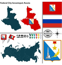 Map of federal city sevastopol vector