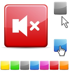 Mute glossy button vector