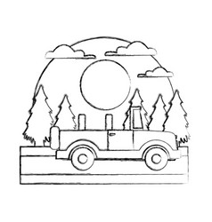Off road sport truck in the forest vector