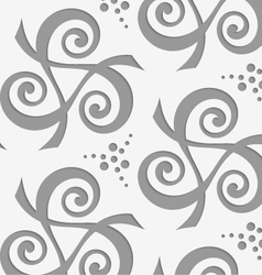 Perforated spirals forming triangles with dots vector
