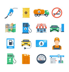 petrol station icons in a flat style vector image vector image
