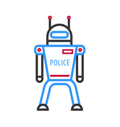 Police robot isolated on white background vector