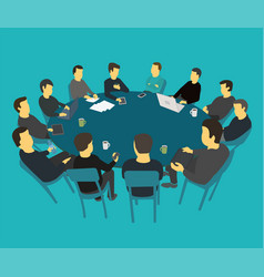 Round big table talks brainstorm team business vector