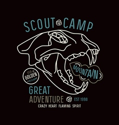 Scout camp emblem in thin line style vector