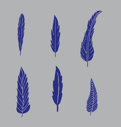 Set of hand drawn blue feathers on grey background vector