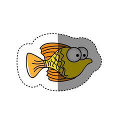 surprised fish cartoon icon vector image