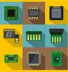 technology chip icons set flat style vector image vector image