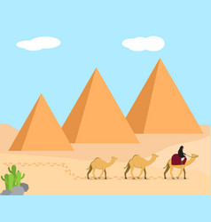 Travel in desert land of giza egypt vector