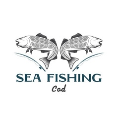 Vintage sea fishing with cod fish vector