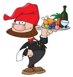 waiter gnome with food tray vector image