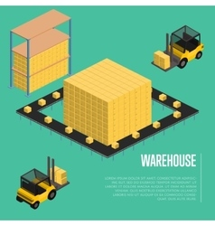 Warehouse isometric concept with forklift vector