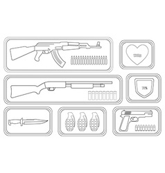 Weapons Game resources Line-art vector image