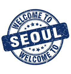 Welcome to seoul blue round vintage stamp vector