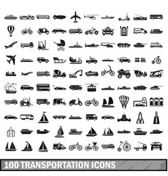 100 transportation icons set in simple style vector