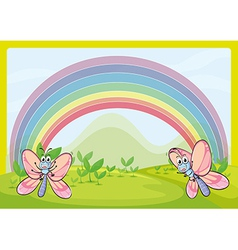 Flies and rainbow vector image
