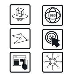 Set virtual reality devices elements icons vector