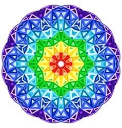 Rainbow kaleidoscope vibrant circle vector image