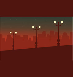 Landscape on street with lamp silhouettes vector
