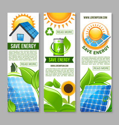 Save energy banner with green house solar panel vector