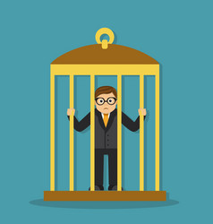 businessman in a cage vector image