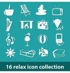 16 relax icon collection vector