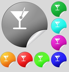cocktail icon sign Set of eight multi colored vector image
