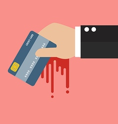 Businessman bloody hand holding credit card vector