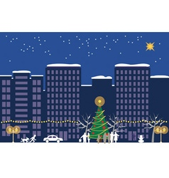 Christmas night town vector
