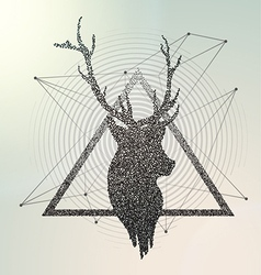 Abstract geometric deer contour vector