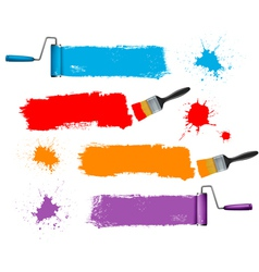 paint brush and paint roller and paint banners vector image