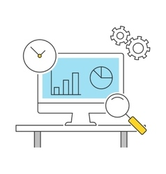 Analytics line icons flat vector