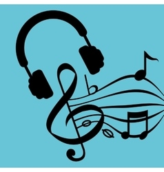 Music design headphones icon isolated vector