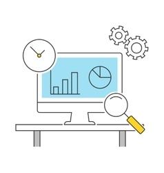 Analytics line icons flat vector