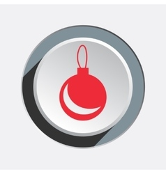 Ball icon Christmas symbol Red sign on white vector image