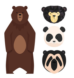 Bears different style funny happy animals vector