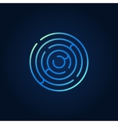 Blue round maze colorful icon vector